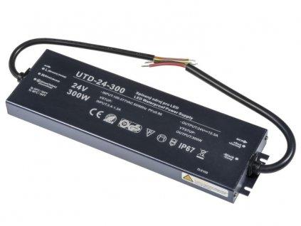 LED trafoUTD-24-300 zalité 24V 12,5A 300W napájecí zdroj venkovní IP67 voděodolné PROFI kvalitní se zárukou pro LED pásky a osvětlení, skladem v Praze cena