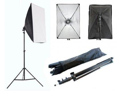 Studiový set světelný light box softbox pro natáčení, focení, stream a gaming. Pro klasickou žárovku se závitem E27 - měnitelná. vypínač na kabelu, cestovní