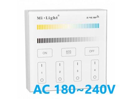 Mi Light CCT dual white slkeněný nástěnný stmívač ovladač na 230V