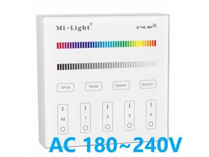 T3 nástěnný slkeněný LED stmívač ovladač RGB RGBW