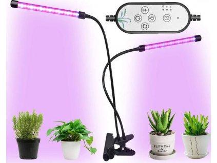 Speciální LED svítidlo GROW 8W s barevným spektrem pro pěstování a rust rostlin, bylin, konopí, trávy, weed, zeleniny a koření. Vysoká svítivost s ramenem