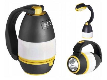 Multifunkční svítilna EMOS tři způsoby použití jako kempingová svítilna lampa lucerna, stolní lampička a ruční svítilna baterka, světlo na baterky, cestovní