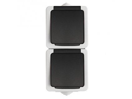 TEKNO Dvojitá zásuvka s ochranou kontaktů vertikální