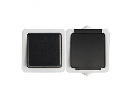 TEKNO Jednopólový vypínač + zásuvka s ochranou kontaktů horizontální