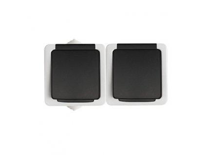TEKNO Dvojitá zásuvka s ochranou kontaktů horizontální