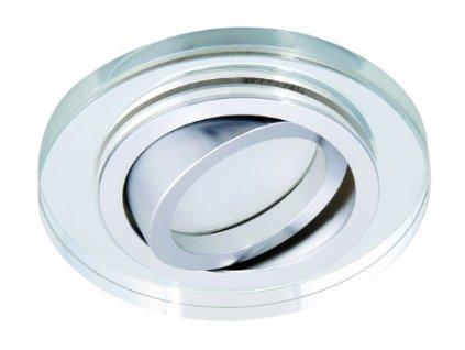 Bodové svítidlo do podhledu pevné zrcadlové čiré sklo čtvercové hranaté broušené pro halogenové a LED žárovky MR16 GU10 patice objímka do stropu sádrokartonu dřeva nábytku s pérama pružinami TopLux Osvětlení Praha skladem levné dobrá cena
