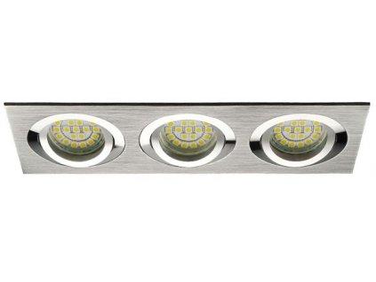 Bodové svítidlo do podhledu pro 3 tři žárovky výklopné nastavitelné stříbrné matné chromové barvy čtvercové hliníkové AL pro halogenové a LED žárovky MR16 GU10 patice objímka do stropu sádrokartonu dřeva nábytku s pérama pružinami TopLux Osvětlení Praha skladem levné dobrá cena