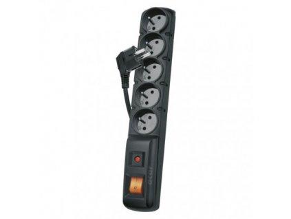 Prodlužovací kabel přepěťová ochrana EMOS P53871 5 pět zásuvek, délka 1,5metru, barva černá ochrání elektroniku při bouřce před bleskem spolehlivá
