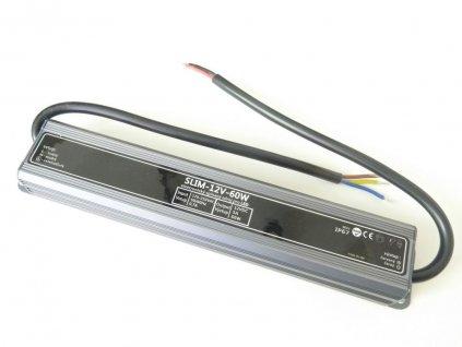LED trafo zdroj 12V 60W IP67 vodotěsné venkovní pro LED pásky stříbrné TopLux Osvětlení Praha skladem na prodejně nízká cena kvalita ihned