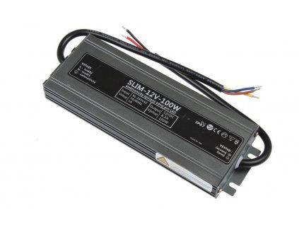 LED trafo zdroj 12V 100W IP67 vodotěsné venkovní pro LED pásky stříbrné TopLux Osvětlení Praha skladem na prodejně nízká cena kvalita ihned