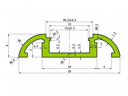 Hliníkový profil N10 chladící lišta pro LED pásek standartní levná s krytem difuzorem rozměry 35x9mm