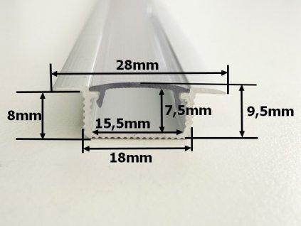 Hliníkový profil vestavný V5 chladící lišta pro LED pásek standartní levná s krytem difuzorem rozměry TopLux Osvětlení Praha skladem