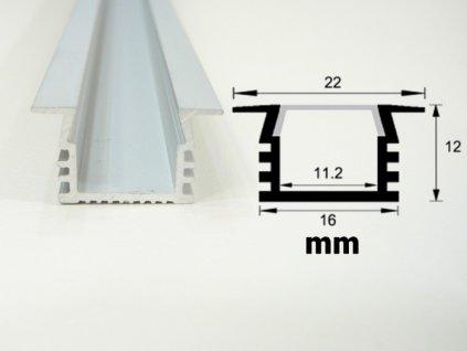 Hliníkový profil vestavný V6 chladící lišta pro LED pásek standartní levná s krytem difuzorem rozměry TopLux Osvětlení Praha skladem