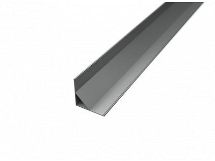 R5 stříbrný rohový hliníkový profil 16x16mm - chladící LED ALU lišta pro LED pásek se sklonem 45°