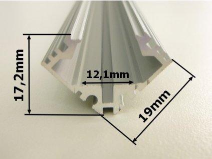 R4 stříbrný - rohový hliníkový profil 19x19mm masivní - chladící LED ALU lišta pro LED pásek s nastavitelným sklonem