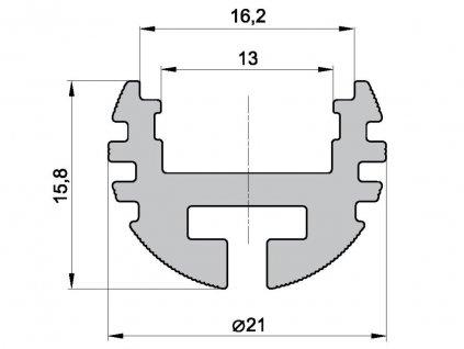 ALU hliníkový profil K kruhový pro LED pásek pro přisazení nebo jako světelná šatní tyč