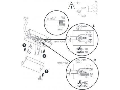 Třífázová napájecí koncovka pro TRACK LIGHT  Barva bílá/černá, možnost připojení napájení  Standartní běžný rozměr a provedení