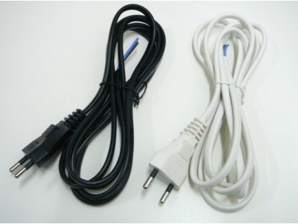 Dvojžilový napájecí kabel 2x0,75mm  Délka 2 metry se zástrčkou  Barva bílá nebo černá