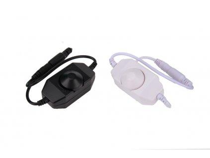 LED ovladač stmívač otočný bílý nebo černý ka kabelu s koncovkama mezikus