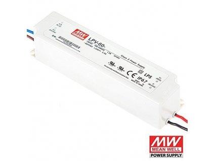 LED zdroj MeanWell 60W 230V 12V trafo pro LED pásky a moduly