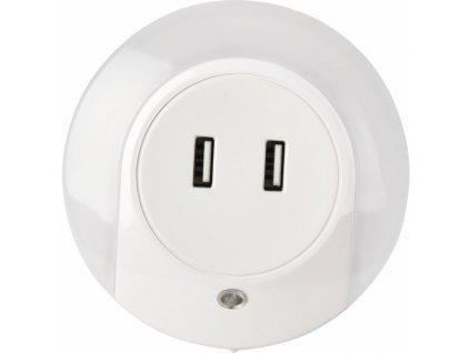 LED noční orientační světlo 0,4W do zásuvky s 2x USB nabíječkou 5V
