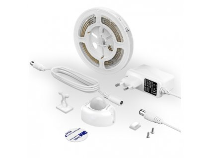 LED SADA DX CDA 1 LED pásek s čidlem pohybu a senzorem setmění pod postel, noční automatické svícení, kompletní světelná sada do zásuvky p