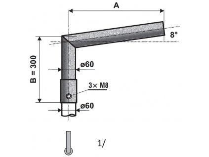 sadový lomený výložník sk 300mm 1rameno průměr 60mm žárový zinek
