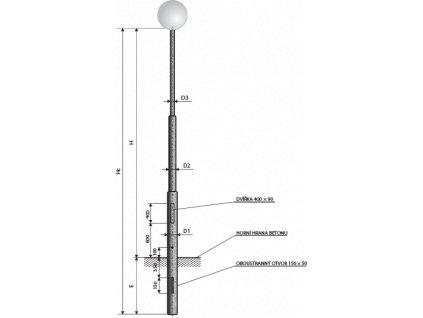 Stořár sadová 3stupňový 6metry zápustní bezpaticový