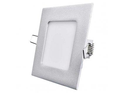LED panel 6 W, krytí IP20 - pro vnitřní prostředí, rozměry120 × 120 × 21 mm, náhrada za žárovku 40 W, svítivost 450 lm, 4 000 K, barva světla neutrální bílá, čtvercové svítidlo vestavné, elegantní stříbrné provedení