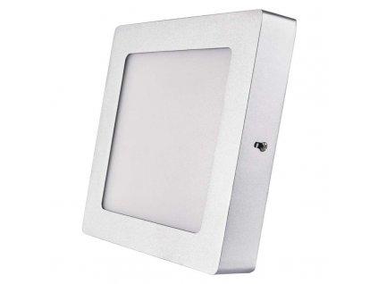 LED panel 12 W, krytí IP20 - pro vnitřní prostředí, rozměry170 × 170 × 40 mm, náhrada za žárovku 70 W, svítivost 1 000 lm, 4 000 K, barva světla neutrální bílá, čtvercové svítidlo přisazené, elegantní stříbrné provedení, bez PIR senzoru