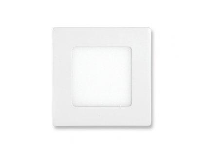 LED panel 6 W, krytí IP20 - pro vnitřní prostředí, rozměry120 x 120 mm, montážní otvor 105 x 105 mm, svítivost 420 lm, 2 700 K, barva světla teplá bílá, čtvercové svítidlo vestavné, materiál hliník/plast, barva rámu BÍLÁ standard, včetně pružin a trafa