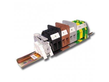 Stožárová výzbroj SV 9.16.4, použití pro síť TN-C, TN-S, svorkovnice sestaveny na DIN liště TH 35 x 7,5, řadové svornice RSA 6, RSA 10 A, RSA 16 A, RSA 35 A