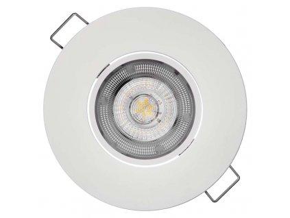 LED vestavné svítidlo 5 W, krytí IP20 - pro vnitřní prostředí, rozměry: průměr90 × 25 mm, montážní otvor 68 mm, náhrada za žárovku 50 W, svítivost 450 lm, barva světla teplá bílá, 3 000 K
