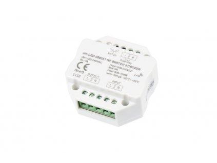 Spínač dimLED pro 230 V, 720 W, dosah přijímače až 30 m, párování až 10 ovladačů, rozměry 52 x 52 x 26 mm
