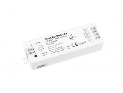 RF přijímač stmívač LED 3x4 A 12-24 V DC, maximální zatížení při 12 V 144 W; při 24 V 288 W, pro RGB ovladače dimLED,rozměry 97 x 33 x 18 mm