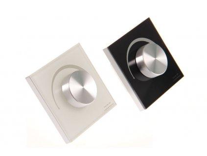 Nástěnný triakový LED stmívač KNS na 230V, RF přijímač stmívač LED 1 A 100-240 V AC, maximální zatížení 240 W, dosah až 30 m, paměť posledního nastavení, rozměry 86 x 86 x 50 mm
