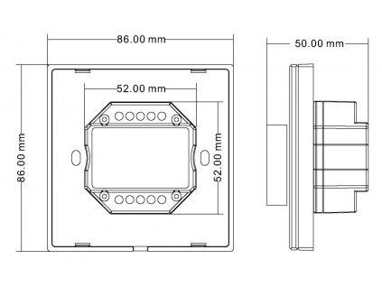 Nástěnný LED stmívač OV DUPLEX 1K jednokanálový, dálkový RF přijímač a ovladač LED,maximální zatížení 4 x 3 A (12V 144W, 24V 288W), dosah až 30 m, paměť posledního nastavení, rozměry 86 x 86 x 50 mm