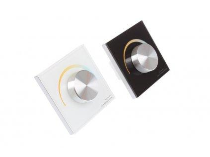 Nástěnný LED stmívač OV DUPLEX CCT 2K, dálkový RF přijímač a ovladač LED, maximální zatížení 4 x 3 A (12V 144W, 24V 288W), dosah až 30 m, paměť posledního nastavení, rozměry 86 x 86 x 50 mm
