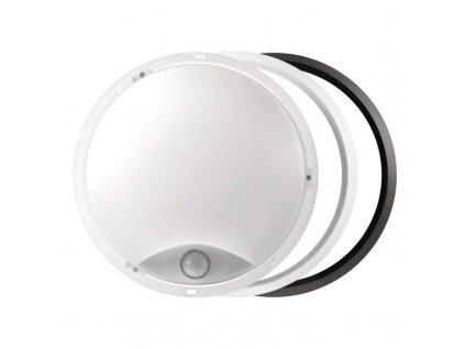 LED svítidlo 14 W, krytí IP54 - vhodné do interiéru i exteriéru, rozměry:∅ 215 x 80 mm, náhrada za žárovku 75 W, svítivost 1 000 lm, barva světla teplá bílá, 3 000 K, kruhové svítidlo přisazené, materiál: plast (PC), s PIR senzorem