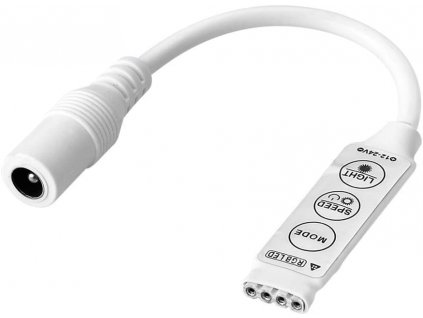 Jednoduchý a levný RGB ovladač pro barevné LED pásky 6A DC konektor samice 3 key manual control rgb led controller 12/24v Max. zátěž 12V = 72W, 24V = 144W