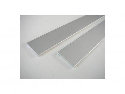 Plochý stříbrný - nástěnný hliníkový profil 25x2 - chladící LED ALU základní přisazená lišta pro LED pásek bez krytu