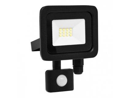 LED reflektor 10 W, náhrada za halogen 60 W, krytí IP44, rozměry13 x 8 x 15 cm, svítivost 800 lm, barva světla studená bílá, 5 000 K, materiál hliník/sklo, čip LED SMD, vyzařovací úhel 120°, pohybový senzor