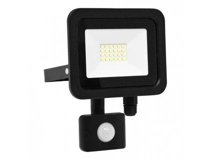 LED reflektor 20 W, náhrada za halogen 120 W, krytí IP44, rozměry18 x 9 x 19 cm, svítivost 1 600 lm, barva světla studená bílá, 5 000 K, materiál hliník/sklo, čip LED SMD, vyzařovací úhel 120°, pohybový senzor