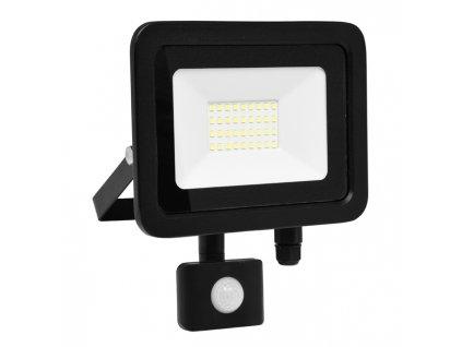 LED reflektor 30 W, náhrada za halogen 180 W, krytí IP44, rozměry 23x 10 x 22 cm, svítivost 2 400 lm, barva světla studená bílá, 5 000 K, materiál hliník/sklo, čip LED SMD, vyzařovací úhel 120°, pohybový senzor