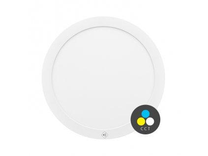 LED stropní svítidlo Ecolite VALI 18W, HF senzor s CCT - nastavení barvy světla LED-IN-18W/HF LED stropní svítidlo 18W Montáž do podhledu i na strop Krytí IP20 - vhodné do interiéru Rozměry ⌀ 22,5 x 1,9 cm Barva světla CCT teplá/studená bílá Teplota chromatičnosti 3000/6000 K Životnost 30 000 h Svítivost 1 550 lm Svítidlo je vybaveno HF pohybovým senzorem s úhlem pokrytí celých 360˚ a dosahem až 8 metrů při montážní výšce 2,5m. TopLux Osvětlení Praha, Libeň
