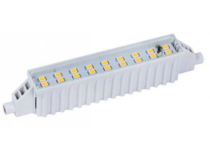 LED žárovka 6W s paticí R7S náhrada za klasické halogenové výbojky používané převážně u reflektorových svítidel. Žárovka je osazena 18 LED čipy typu SMD v teplé barvě světla (teplota chromatičnosti 3000K). Žárovka nahradí 40W běžného halogenu. Skladem TopLux Praha