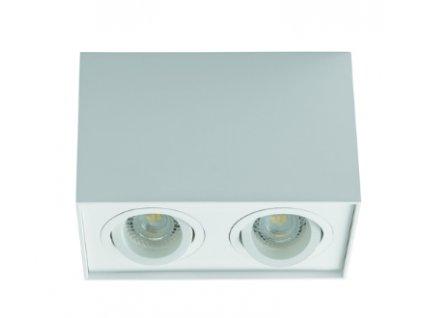 Bílé hranaté bodové dvojité svítidlo výklopné GORD DPL 250-W přisazené stropní světlo pro dvě žárovky 2x GU10 obdelník IP20 25473