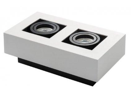 Stropní dvojité přisazené bodové hranaté svítidlo STOBI DLP 250-B bílé je vhodné pro využití v interiérech, jako designové světlo pro 2ks LED žárovek s paticí GU10. Obdelníková svítidla STOBI mají výklopný systém uchycení žárovky, což umožňuje nasměrovat vyzařující světlo správným směrem pod požadujícím úhlem svitu. Velkou výhodou je snadná instalace na jakýkoliv strop, nebo pevný podklad. Barva světla závisí na zvolené žárovce, je tedy variabilní, zda-li preferujete studenou, teplou nebo neutrální barvu světla, záleží na vás, jakou žárovku si dokoupíte. Uplatnění nejčastěji nachází ve designových adminisrativních budovách, kancelářích, moderních bytových domech a domácnostech. Barva těla je bílá. TopLux Praha skladem.