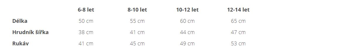 tabulka velikostí dětská mikina kariban