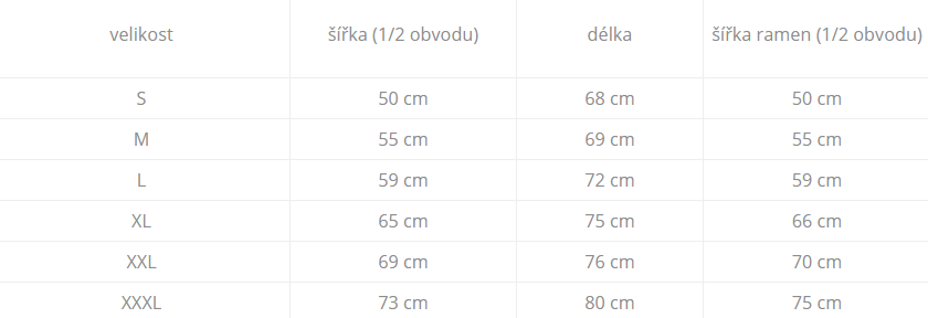 tabulka velikostí mikiny